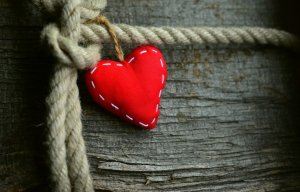 heart, red, rope
