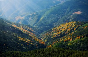 mountain, rays, hill