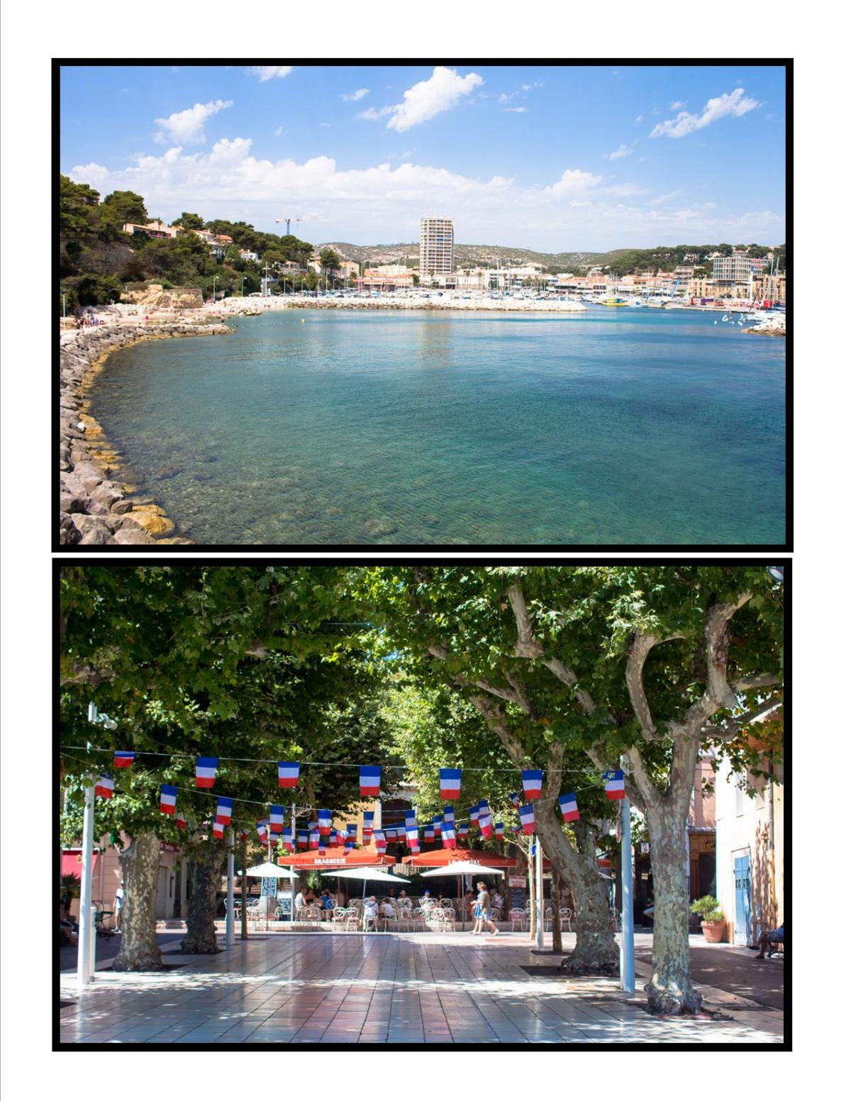 2 pictures, one of the Mediterranean see and one of the city center in France with French flags.