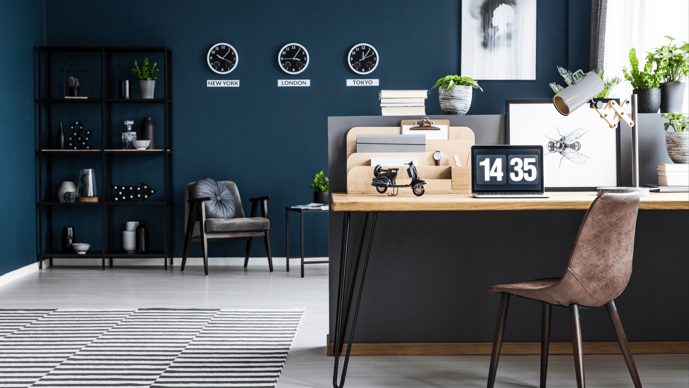 Dark blue home office with minimal decorating