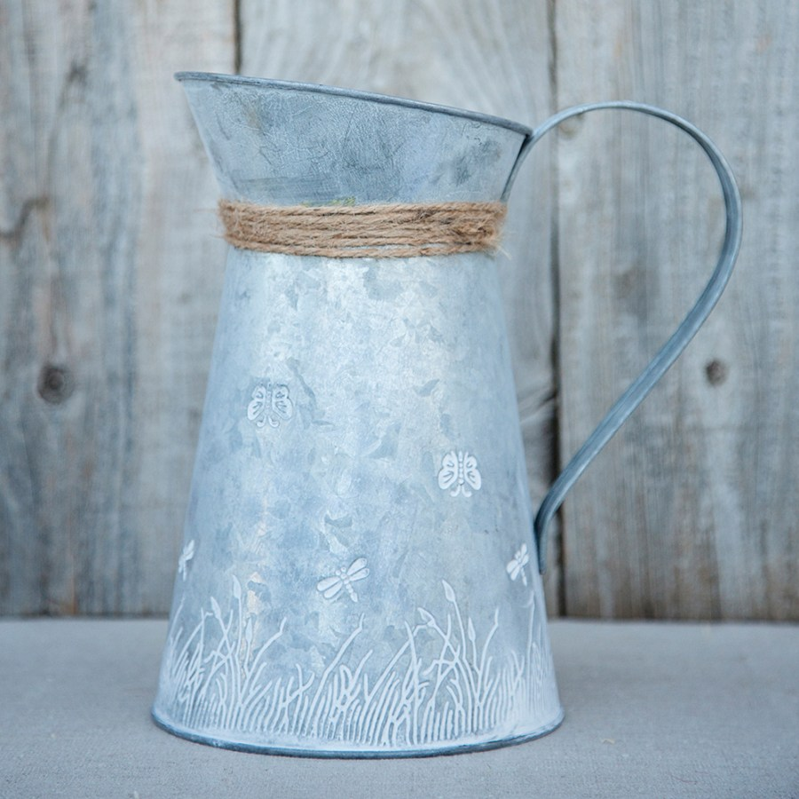 Tin Nature Jug with Rope Bow