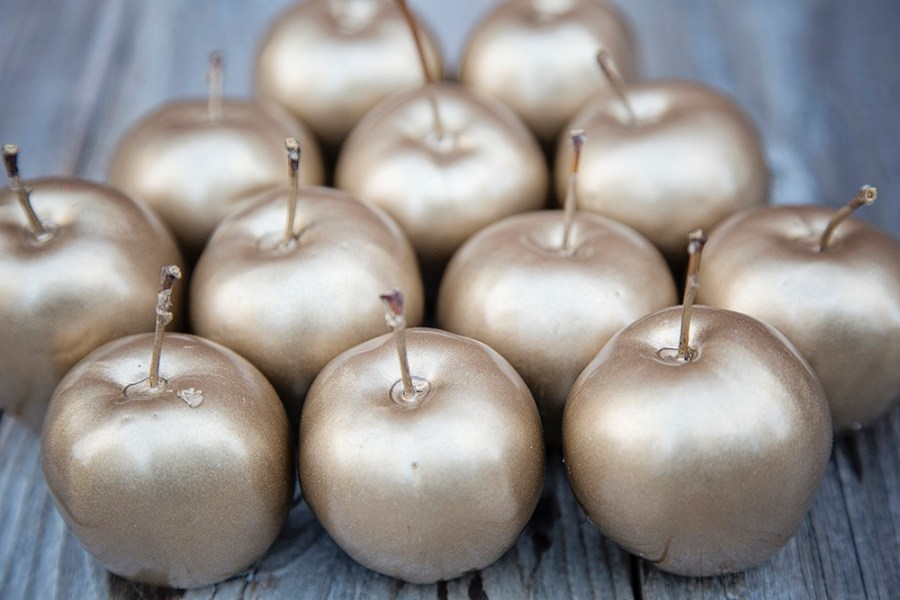 Decorative wax coated apples