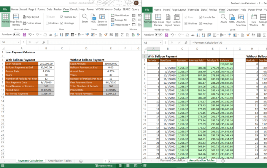 Open New Window Side By Side in Excel