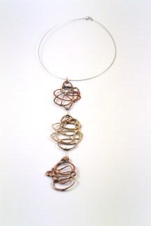 Eleonora Ghilardi Red and Gold Bronze and Silver Necklace - E290