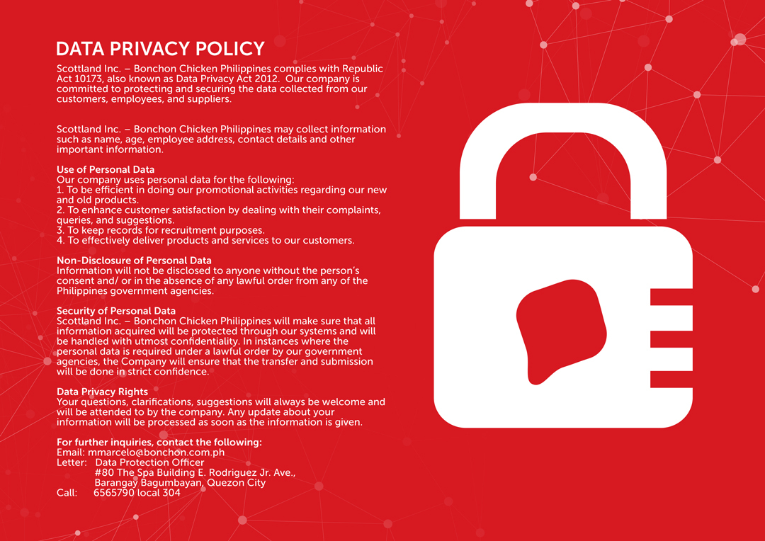 Bonchon Legal Data Privacy