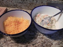 shredded cheese and slaw