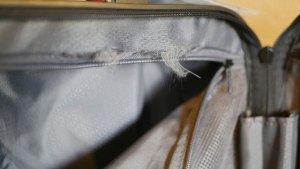 (RONCATO)ロンカート/スーツケースの内装ファスナーと生地の際のほつれ