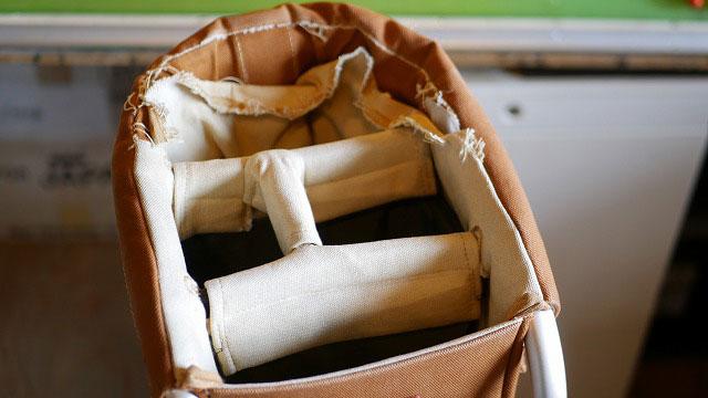 木の庄帆布×ミズノ/ゴルフバッグのクラブを入れる枠の生地破れ