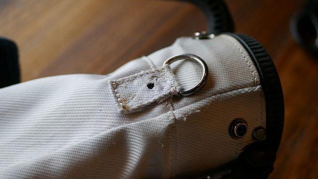 (St.ANDREWS)セントアンドリュース/セルフスタンドバッグのショルダーベルトを固定する根元をカシメで補強修理