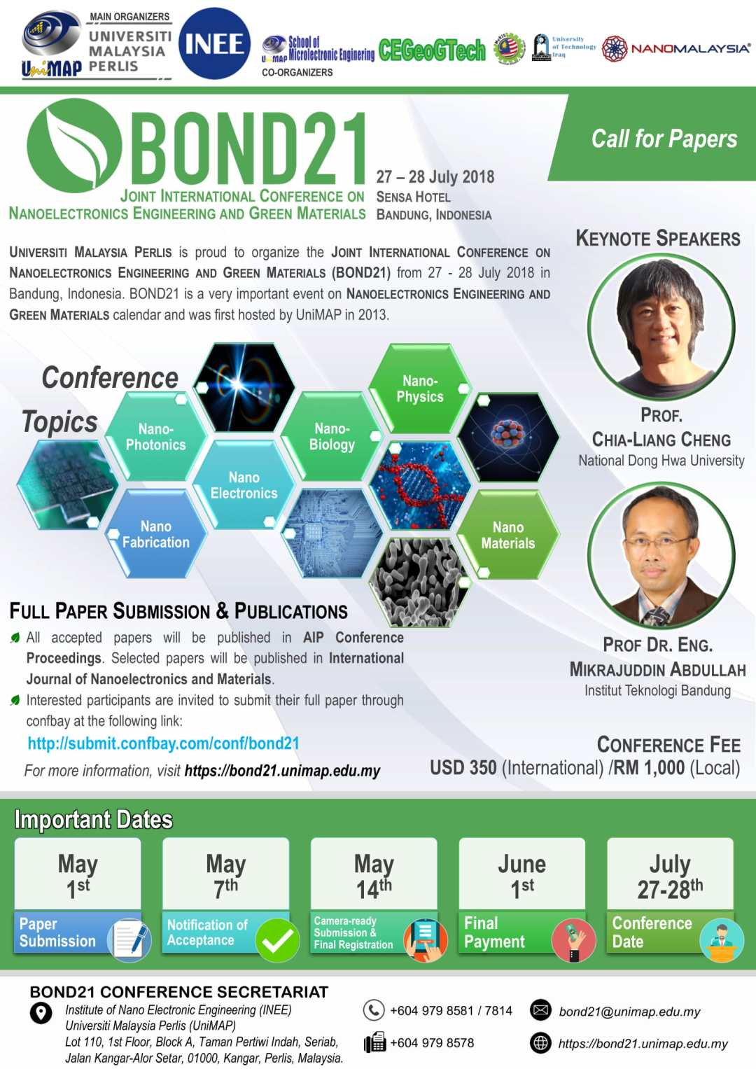 BOND21 - Joint International Conference on Nanoelectronics Engineering and Green Materials