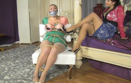 Riley Jane Bondage Lubed Up Boobs And A Real Big Gag For Riley