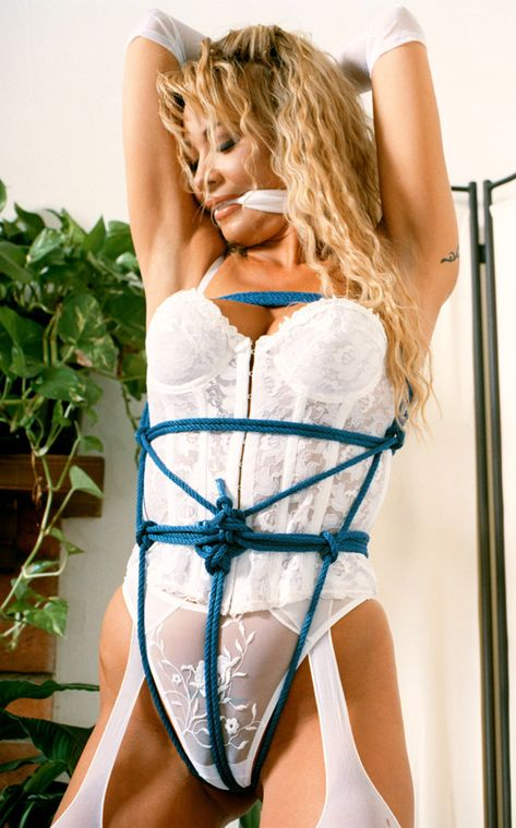 Awesome Blonde in White Lingerie Gets Tightly Bound and Cleave Gagged