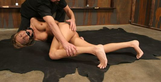 Beautiful Blond Slave Collared, Spanked and Dominated in the Dungeon