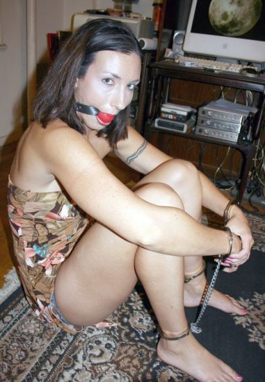 Beautiful Brunette Amateur Gets Stripped, Cuffed and Ball Gagged