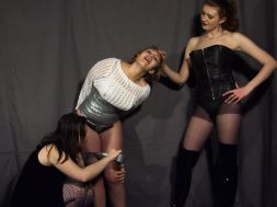 Blond Slave Bound, Gagged and Disciplined by Two Beautiful Mistresses