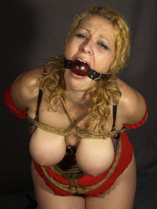 Curvy Blonde Tightly Bound, Ball Gagged and Hogtied for Punishment