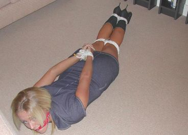 Cute Blond Amateur Gets Tightly Bound and Cleave Gagged for Punishment