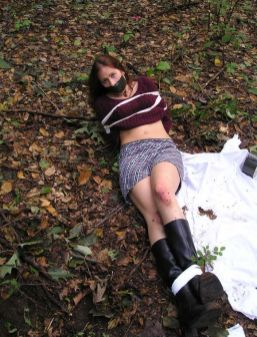 Cute Young Girlfriend Bound and Tape Gagged Outside for Discipline