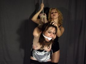 French Maid Gets Cleave Gagged, Bound and Tortured by Her Hot Mistress