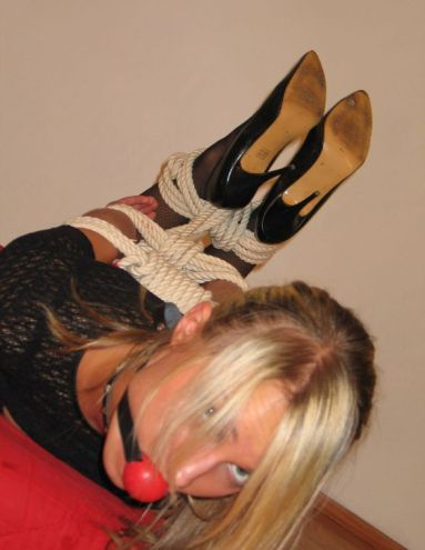 Gorgeous Blonde in High Heels Gagged, Hogtied and Punished