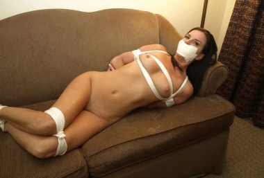 Gorgeous Girlfriend Bound, Tape Gagged and Blindfolded in a Hotel Room
