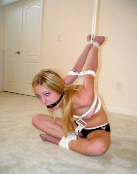 Hot Blond Girlfriend Bound and Gagged by Her Boyfriend at Home for Fun