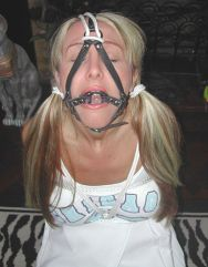 Hot Blond Girlfriend Harnessed and Bound by Boyfriend at Home