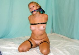 Hot Blonde Gets Cleave Gagged and Tape Bound in Basement