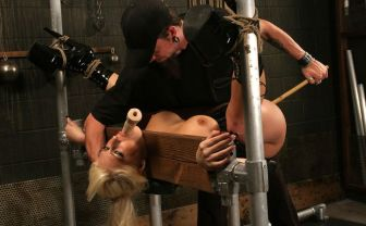 Hot Blonde in Corset Restrained, Spread and Penetrated in the Dungeon