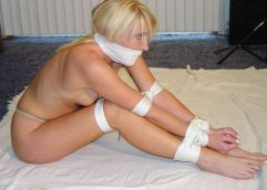 Hot Blonde Tightly Bound and Gagged at Home for Discipline