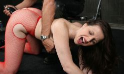 Hot Brunette in Fishnet Stockings Gets Penetrated and Dominated Hard