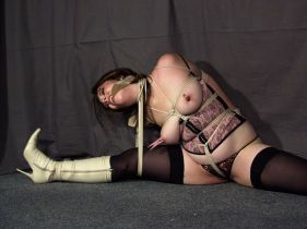 Hot Busty Brunette Gets Cleave Gagged, Tightly Bound and Punished Hard