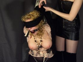 Hot Busty Slave Bound, Blindfolded and Gagged by Her Gorgeous Mistress