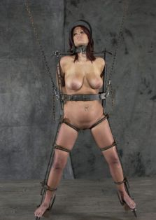 Hot Redhead Slave Collared, Chained and Disciplined in the Dungeon
