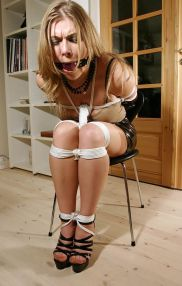 Kinky Housewife Ball Gagged and Tightly Bound by Her Husband at Home
