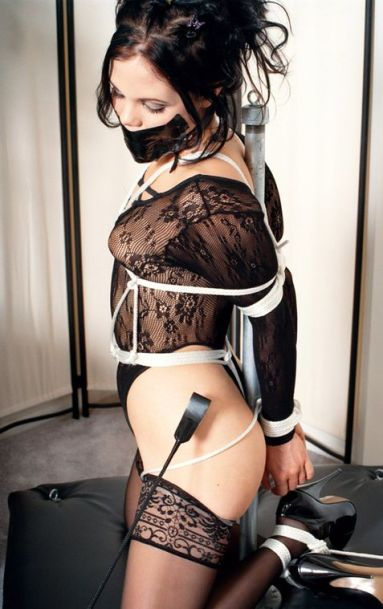 Kinky Young Slave in Stockings Tape Gagged, Bound and Whipped for Fun