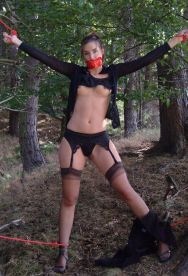 Pretty Amateur Gets Restrained, Gagged and Stripped in the Woods