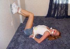 Sexy Blond Girlfriend Bound, Gagged and Blindfolded by Her Boyfriend