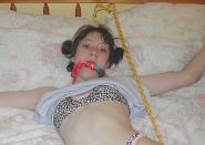 Sexy Brunette Girlfriend Gets Restrained and Cleave Gagged on the Bed