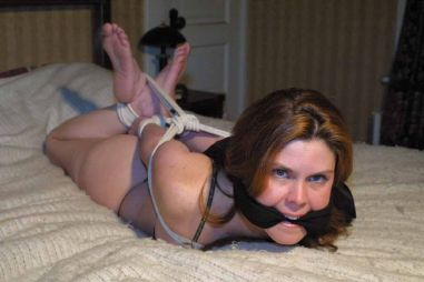 Sexy Brunette Tightly Bound and Cleave Gagged by Her Boyfriend for Fun