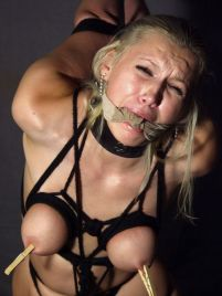 Sexy Young Slave Blindfolded, Bound and Cleave Gagged for Punishment