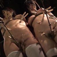 こぶ縄綱渡り、股縄でクリの粘膜こすれる美女拷問画像62枚