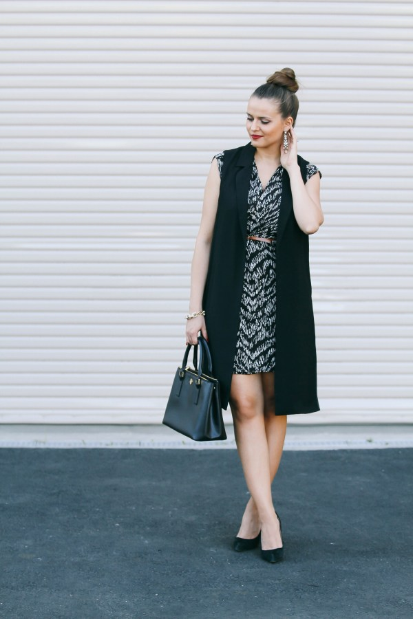 #OOTD // Long Black Vest & Wrap Dress | BondGirlGlam.com