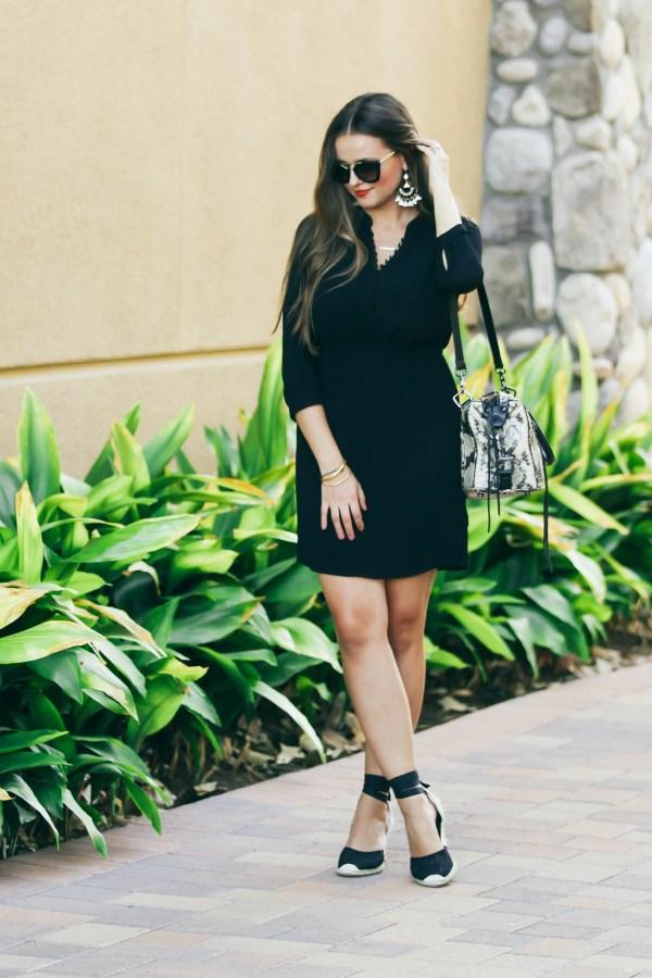 #OOTD // Black Button-Down Dress & Espadrille Wedges | BondGirlGlam.com