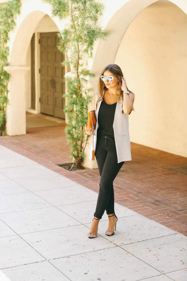 #OOTD // Light Blue Vest & Black Skinny Jeans   BondGirlGlam.com