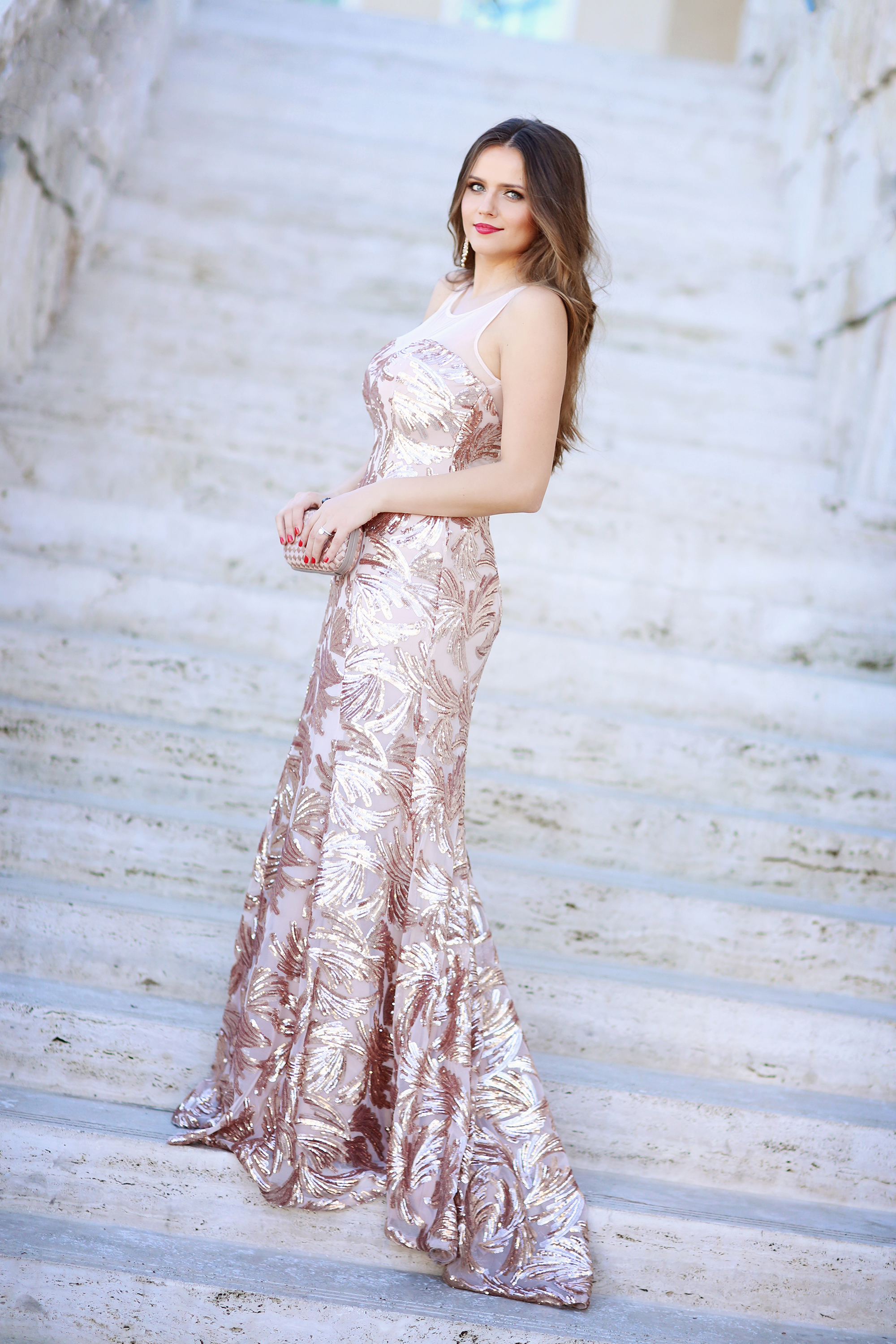 OOTD Rose Gold Sequin Mermaid Gown A Fashion Beauty Amp Lifestyle Blog