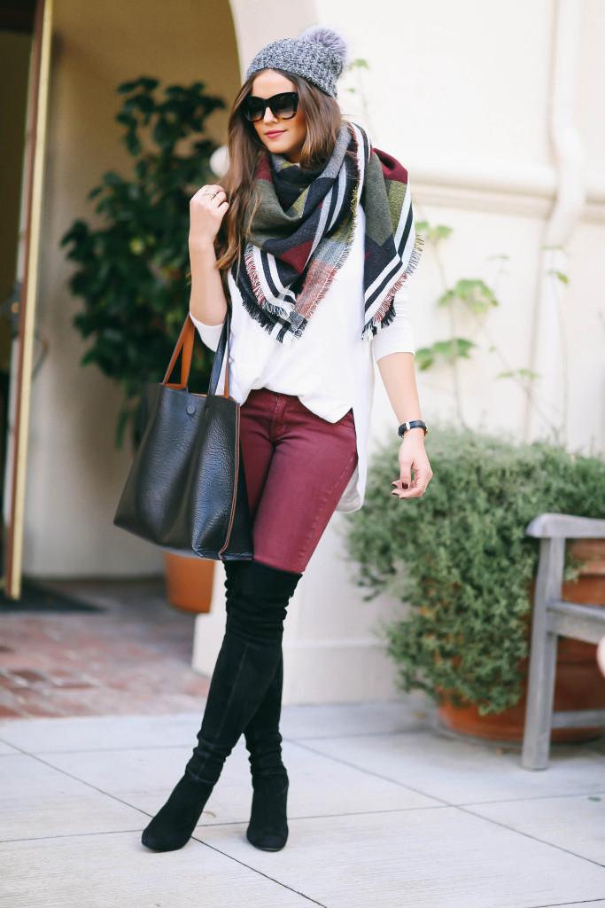 #OOTD // Pom Pom Hat, Blanket Scarf, & OTK Boots | BondGirlGlam.com