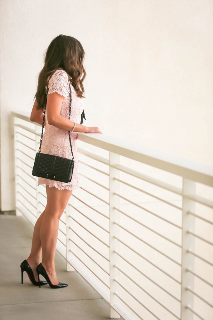 #OOTD // Blush Pink Lace Bow Dress | BondGirlGlam.com