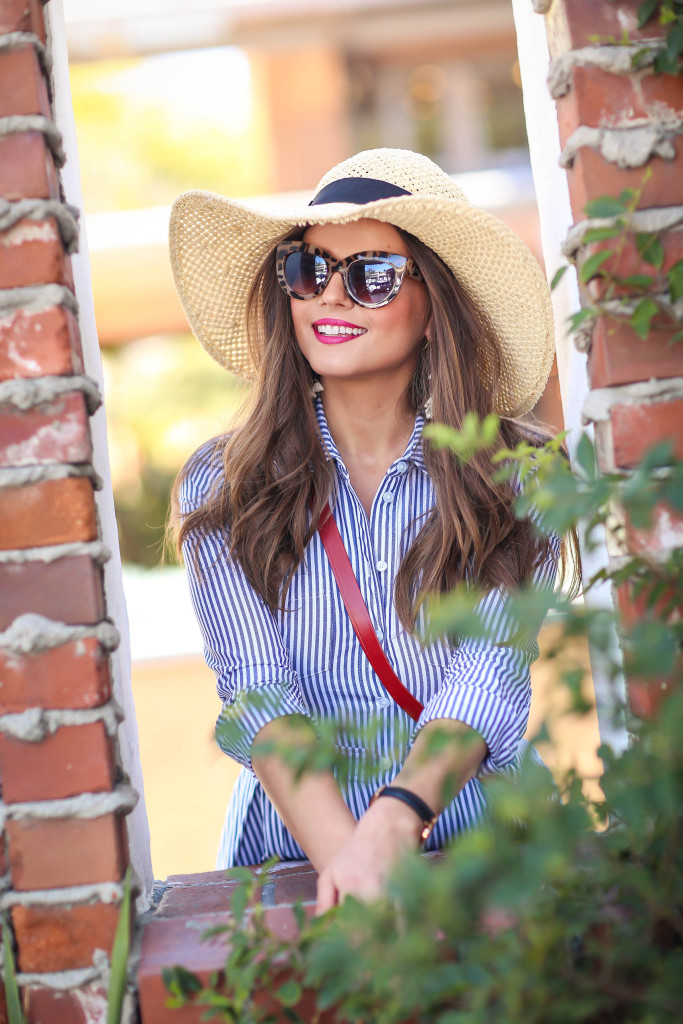 #OOTD // Pinstripe A-line Shirtdress | BondGirlGlam.com