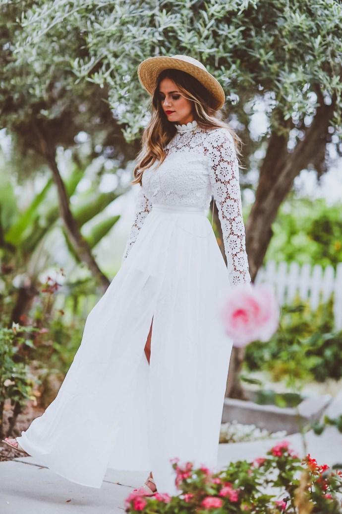 #OOTD // Long-Sleeve Lace & Chiffon Maxi Dress | BondGirlGlam.com